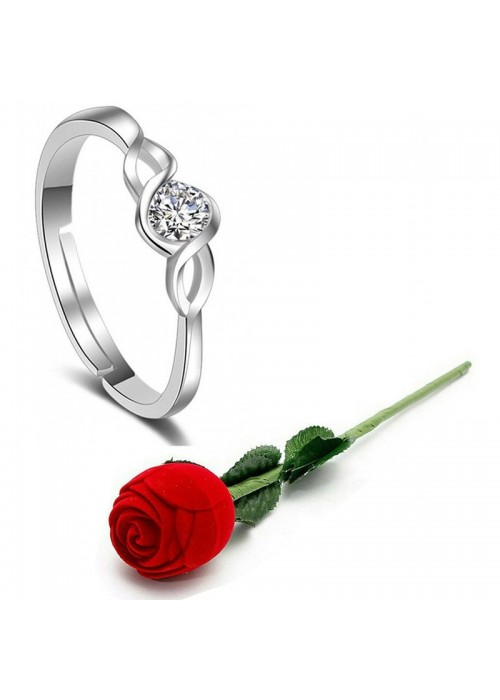Jewels Galaxy Silver-Plated Stone-Studded Handcrafted Adjustable Finger Ring with Rose Box 9936