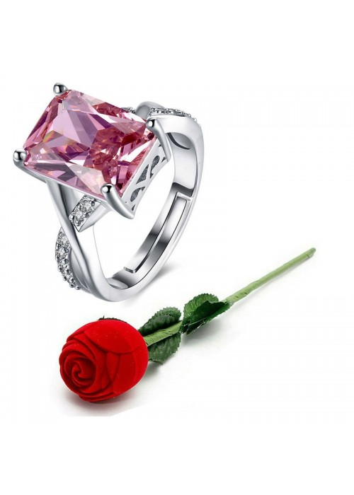 Jewels Galaxy Pink Silver-Plated Stone Studded Handcrafted Adjustable Finger Ring with Rose Box 9939
