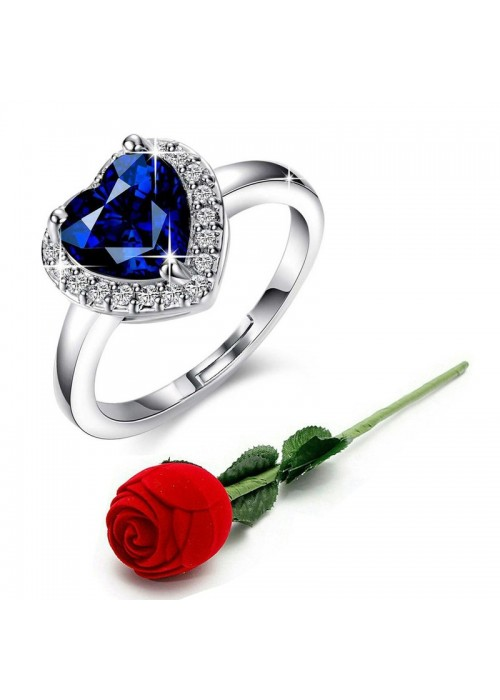 Jewels Galaxy Navy Blue Silver-Plated Stone-Studded Handcrafted Adjustable Finger Ring with Rose Box