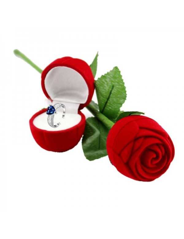 Jewels Galaxy Navy Blue Silver-Plated Stone Studded Handcrafted Adjustable Finger Ring with Rose Box
