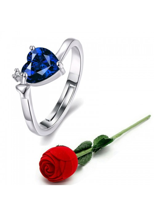 Jewels Galaxy Navy Blue Silver-Plated Stone-Studded Handcrafted Adjustable Finger Ring with Rose Box 9948