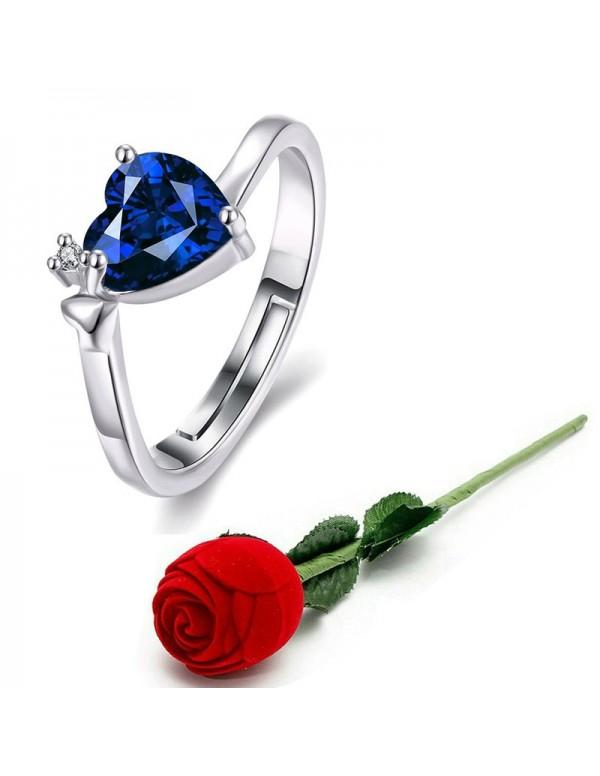 Jewels Galaxy Navy Blue Silver-Plated Stone-Studde...