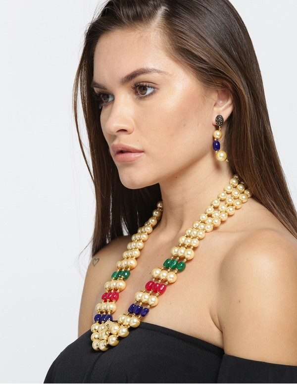 Jewels Galaxy Multicoloured Beaded Jewellery Set