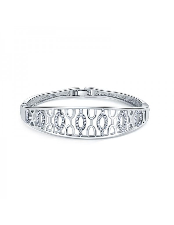 Silver-Plated Handcrafted Bangle-Style Bracelet 17...