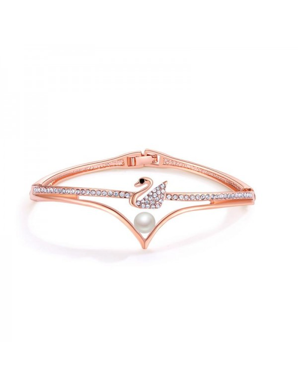 Rose Gold-Plated Swan-Shaped Stone-Studded Handcra...