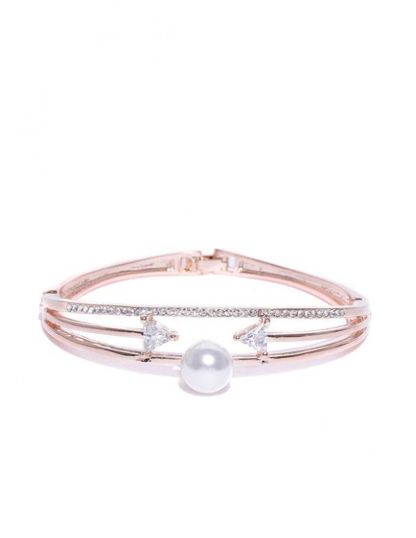 Off-White Rose Gold-Plated Handcrafted Stone-Studd...