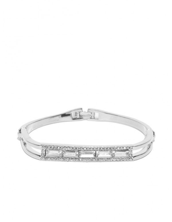 Silver-Plated Handcrafted Stone-Studded Link Brace...