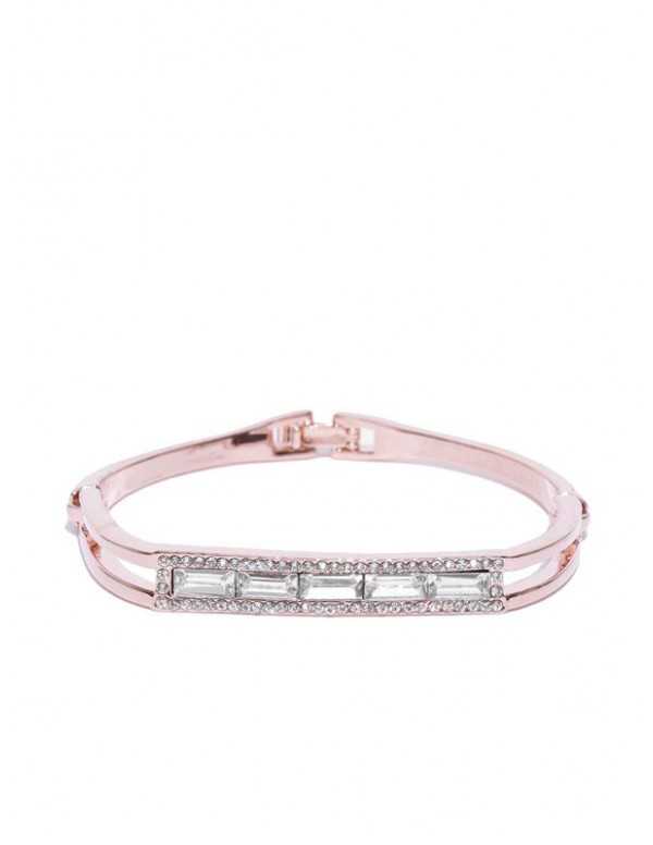 Rose Gold-Plated Handcrafted Stone-Studded Link Br...