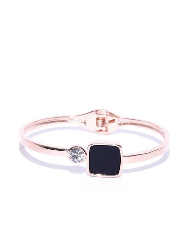 Black Rose Gold-Plated Handcrafted Stone-Studded C...