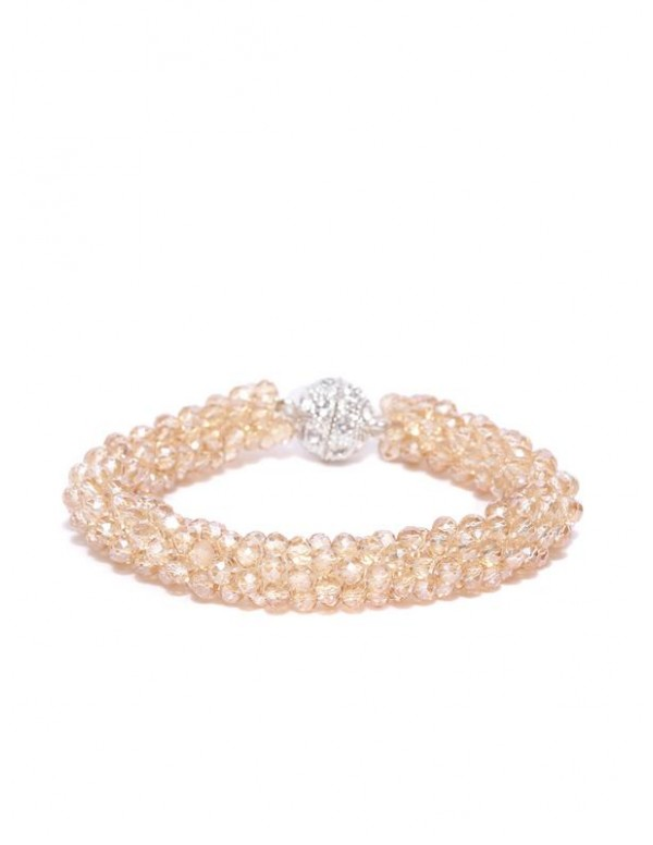 Beige Silver-Plated Beaded Handcrafted Bracelet