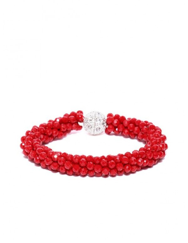 Red Silver-Plated Handcrafted Bracelet