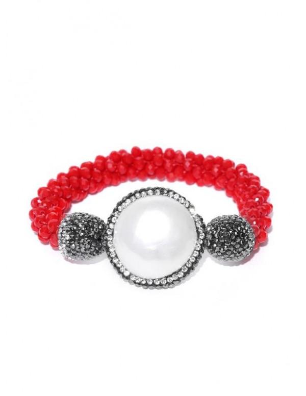 Red & Off-White Beaded & Stone-Studded Ela...
