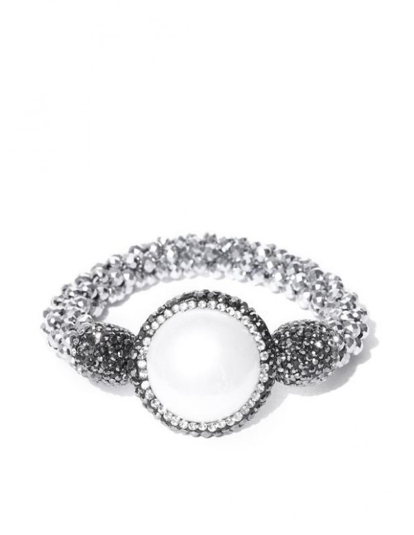 Silver-Toned & Off-White Beaded & Stone-St...