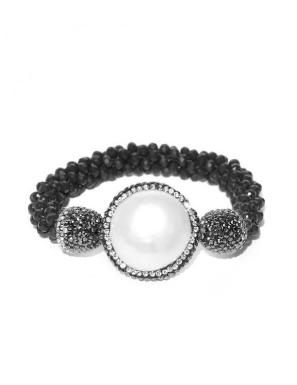 Black & Off-White Beaded & Stone-Studded E...