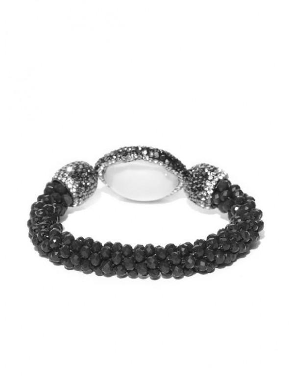 Black & Off-White Beaded & Stone-Studded Elasticated Bracelet 17168