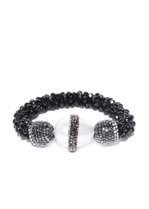Black & Off-White Beaded & Stone-Studded Elasticated Bracelet