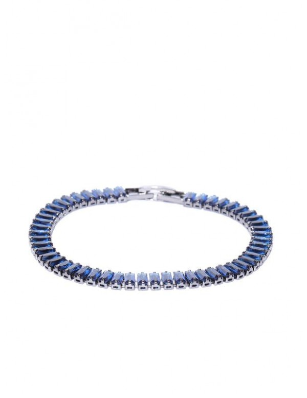 Navy Blue & Gunmetal-Toned Silver-Plated Stone...