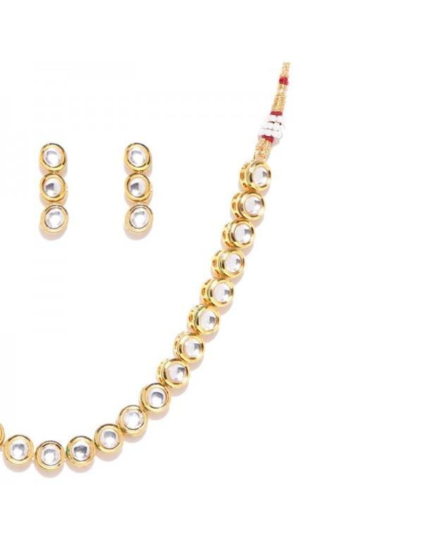 Jewels Galaxy Gold-Toned Kundan Stone-Studded Beaded Jewellery Set