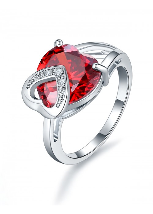 Jewels Galaxy Orange Platinum-Plated Silver Stone-Studded Silver Ring 5133