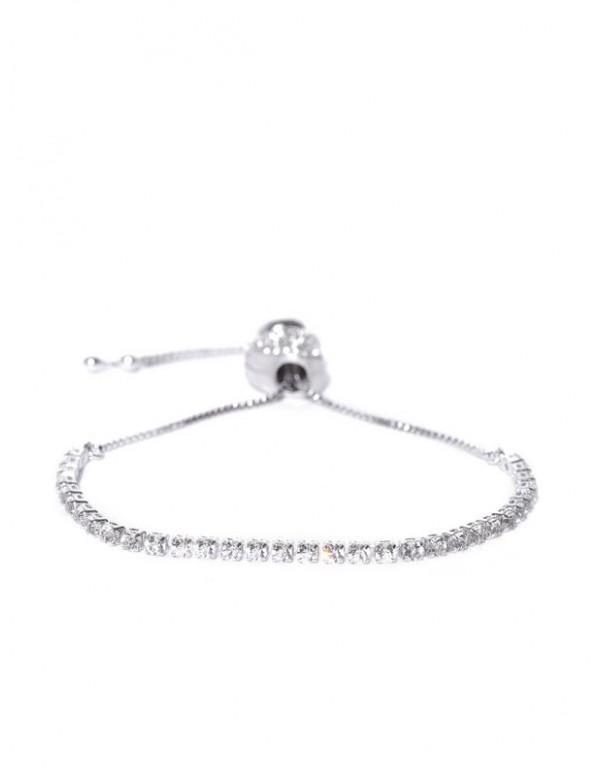 Silver-Plated Stone-Studded Bracelet