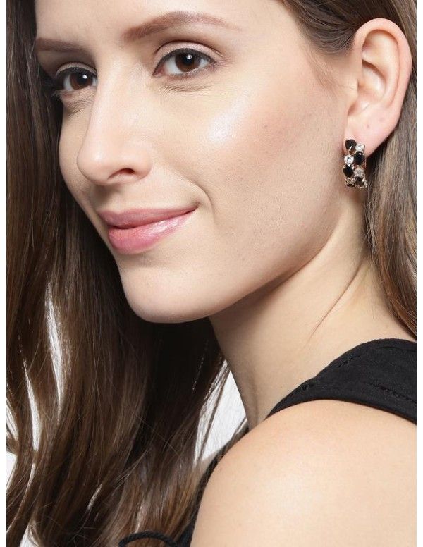 Jewels Galaxy Black Gold-Plated Handcrafted Ear Cu...