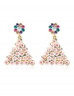 Lustrous Floral Design Luxurious Crystal...