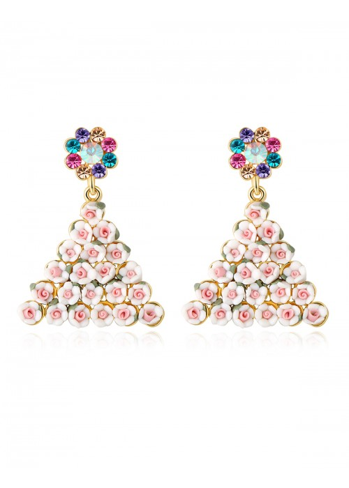 Jewels Galaxy Off-White Gold-Plated CZ Stone-Studded Floral Handcrafted Drop Earrings