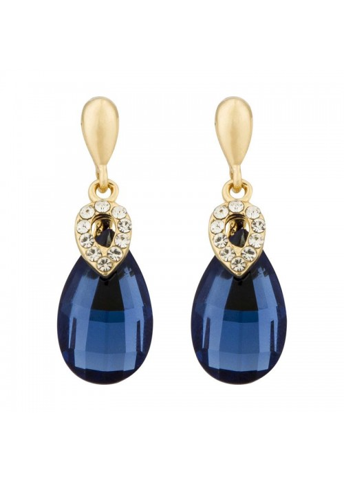 Jewels Galaxy Elegant Design Top Quality AAA Blue Emerald Crystal Enthralling Pair Of Drop Earrings For Women/Girls
