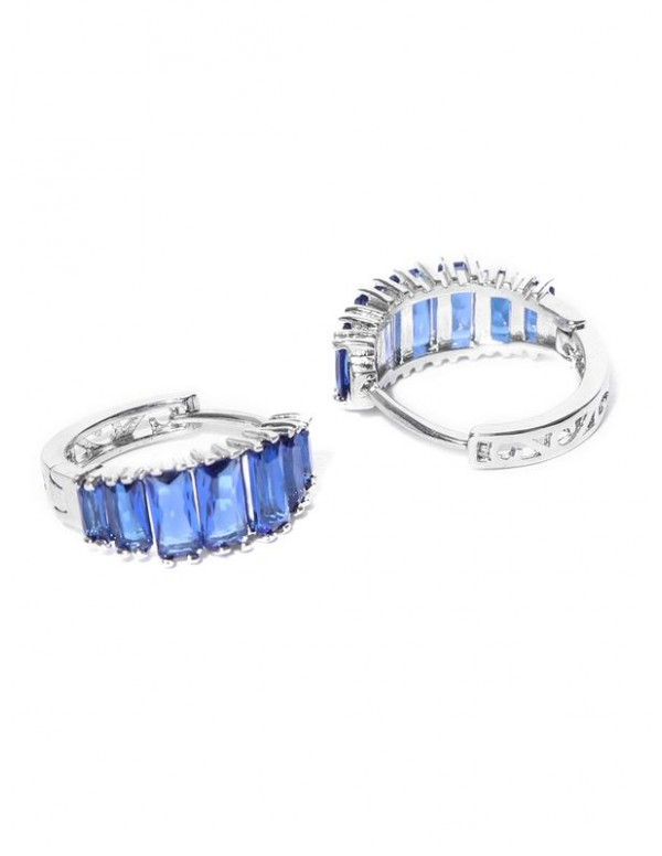 Blue & Silver-Toned Rhodium-Plated Handcrafted Stone-Studded Hoop Earrings