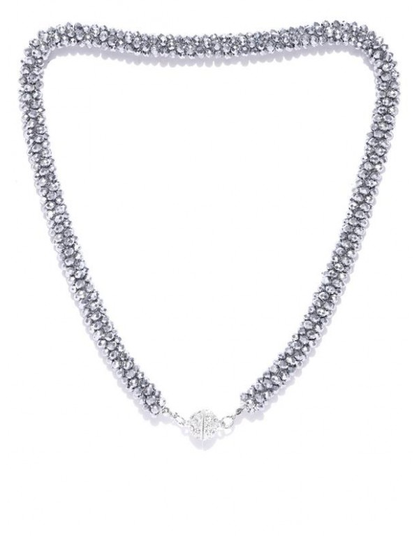 Gunmetal-Toned Silver-Plated Beaded Handcrafted Ne...
