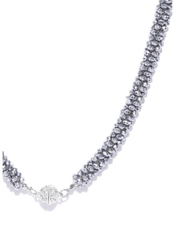 Gunmetal-Toned Silver-Plated Beaded Handcrafted Necklace  8039