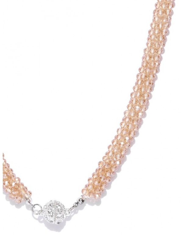 Gold-Toned Silver-Plated Beaded Handcrafted Necklace  8043