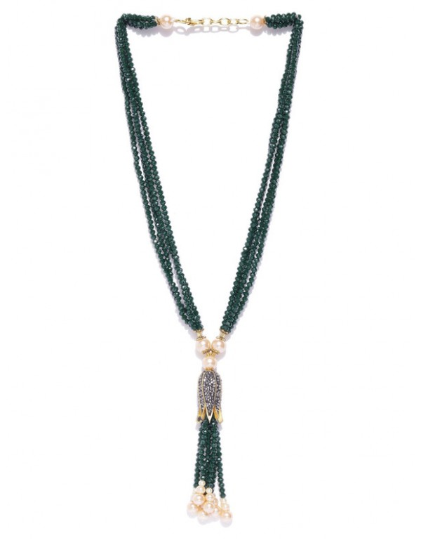 Jewels Galaxy Gold Toned Green Beads Contemporary Necklace Set