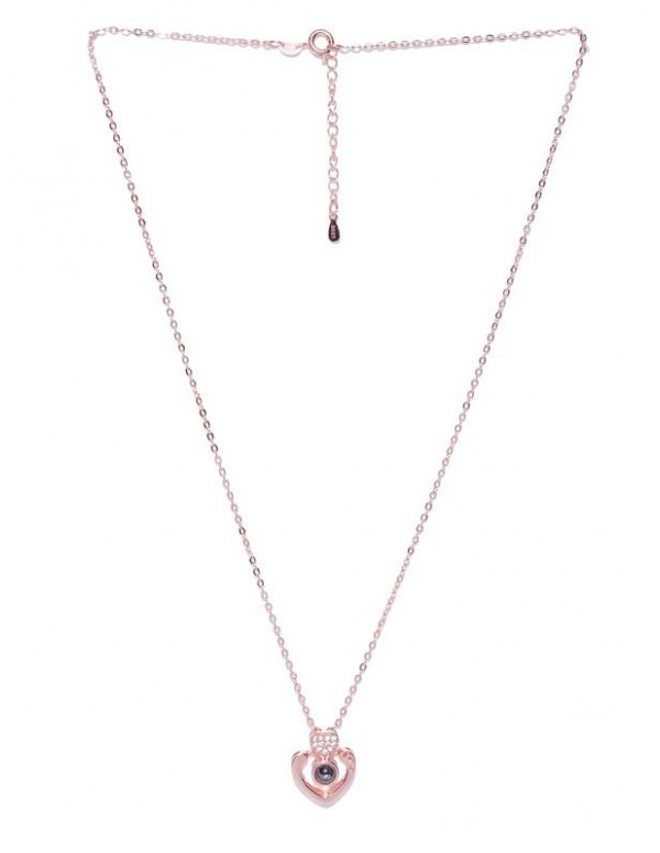 Black Rose Gold-Plated Stone-Studded Pendant with Chain
