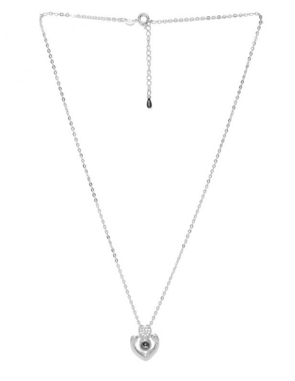 Black Silver-Plated Stone-Studded Pendant with Chain