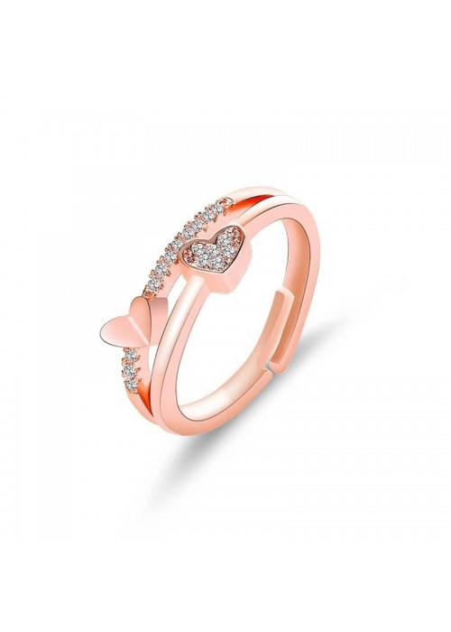 Jewels  Galaxy Adorable American Diamond Heart Designs Rose Gold Plated Adjustable Ring For Women/Girls 5044