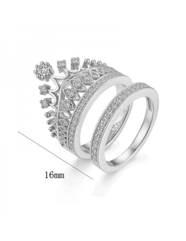Jewels Galaxy Amazing AD Crown Inspired Silver Plated Brilliant Ring For Women/Girls 5166