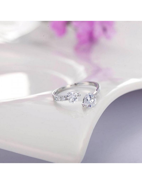 Jewels Galaxy Scintillating Crystal Heart Silver P...