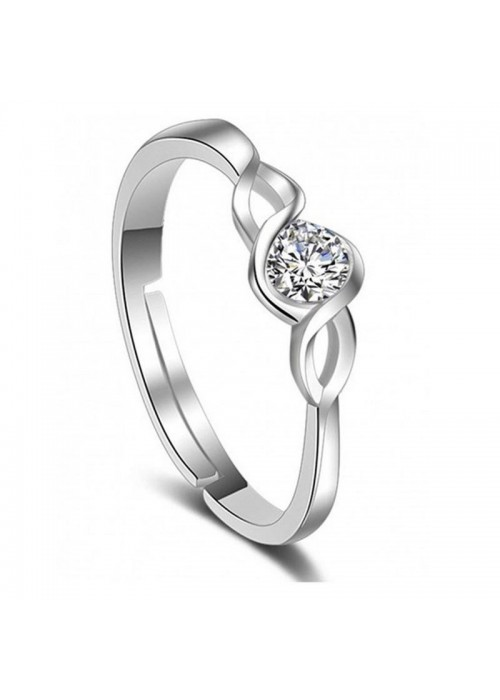 Jewels Galaxy Delicate American Diamond Silver Plated Elegant Adjustable Ring For Women/Girls 5181