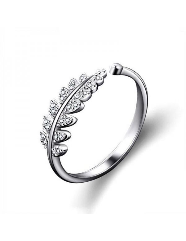 Jewels Galaxy Stylish Zircon Leaf Silver Plated Pl...