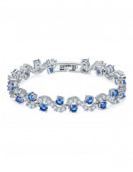 Jewels Galaxy Silver-Toned & Blue Rh...