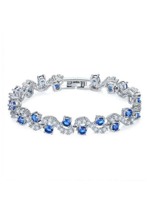 Jewels Galaxy Silver-Toned & Blue Rhodium-Plated Handcrafted Link Bracelet 3003
