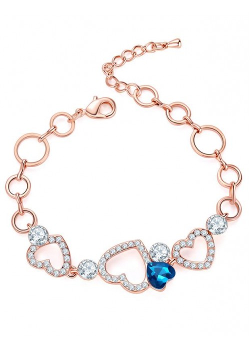 Jewels Galaxy Off-White Brass Rose Gold-Plated Handcrafted Stone-Studded Bracelet