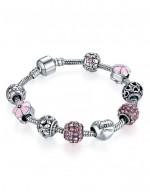 Jewels Galaxy Silver-Toned & Pink Rh...