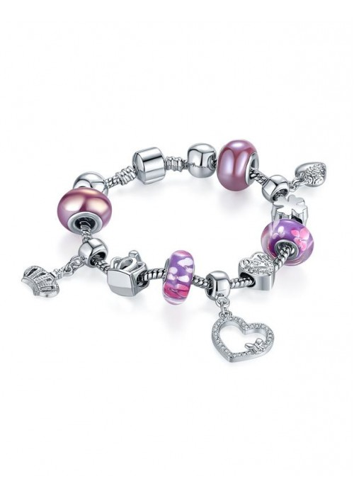 Jewels Galaxy Silver-Toned & Pink Rhodium-Plated Handcrafted Bracelet 3186