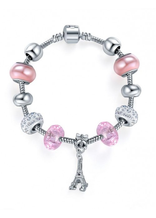 Jewels Galaxy Silver-Toned & Pink Rhodium-Plated Handcrafted Bracelet 3188