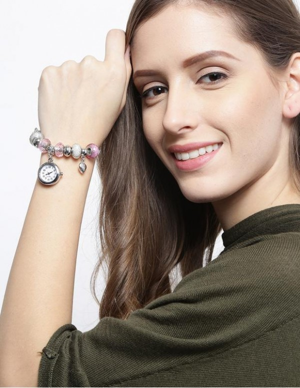 Jewels Galaxy Silver-Toned & Pink Rhodium-Plated Handcrafted Bracelet