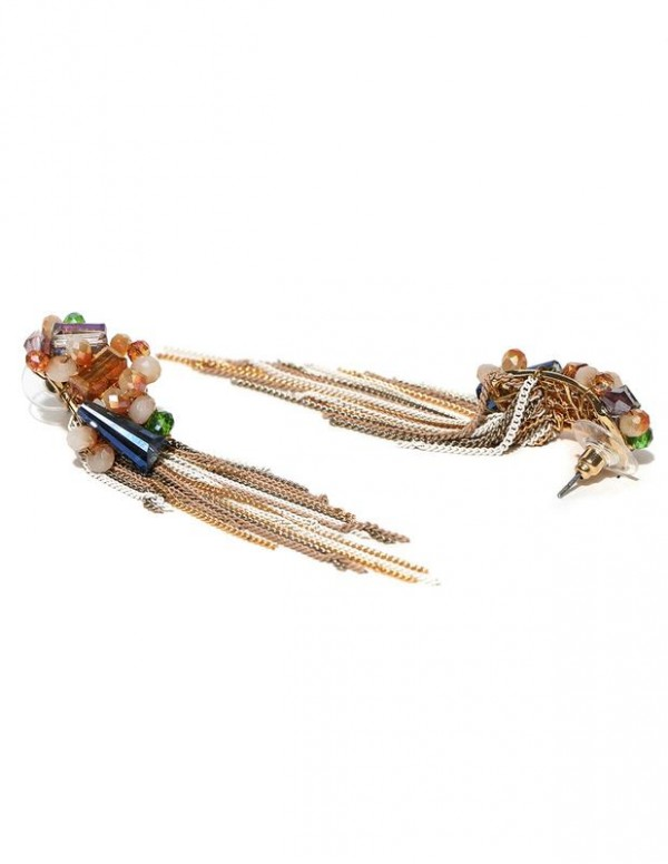 Jewels Galaxy Multicoloured Gold-Plated Handcrafted Tasseled Earrings 2254