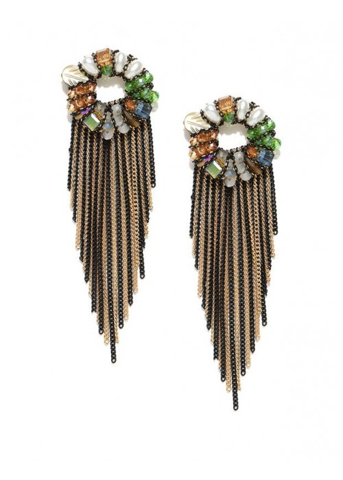 Jewels Galaxy Multicoloured CZ Stone-Studded Handcrafted Drop Earrings