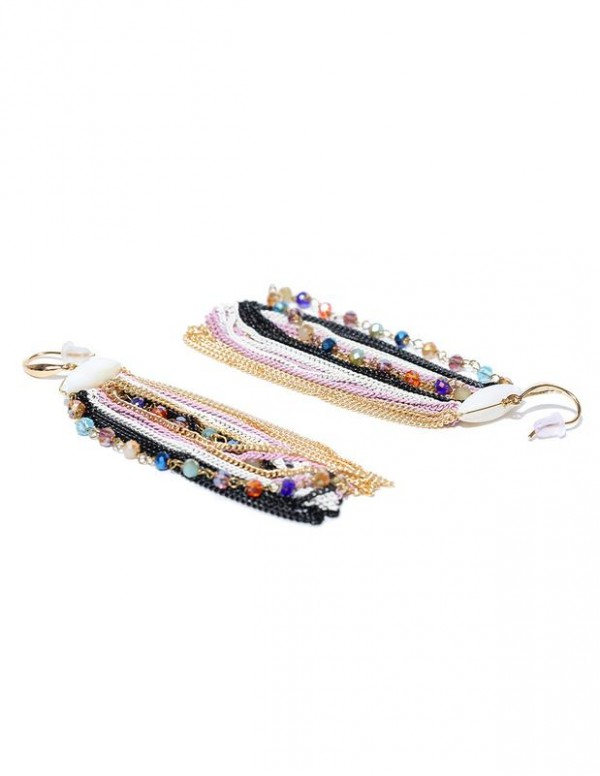 Jewels Galaxy Multicoloured Gold-Plated Handcrafted Drop Earrings